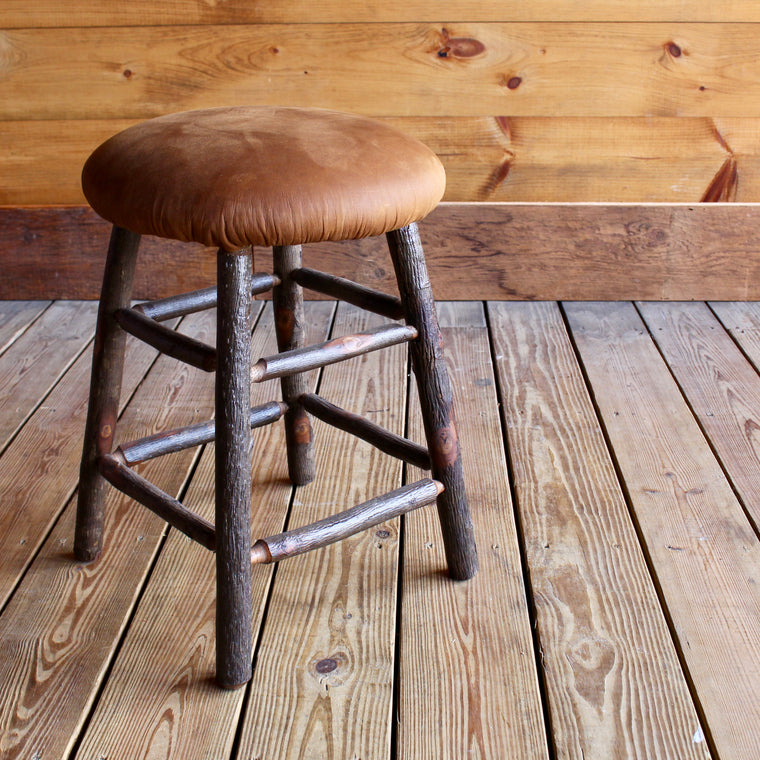 Hickory Stool with Leather Seat
