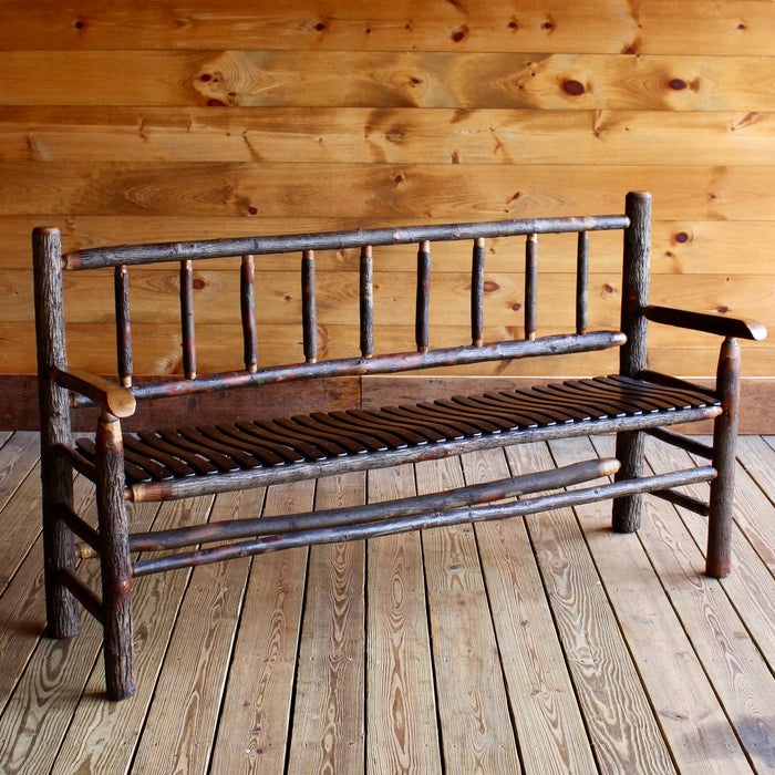 5 Foot Rustic Hickory Bench with Slatted Seat