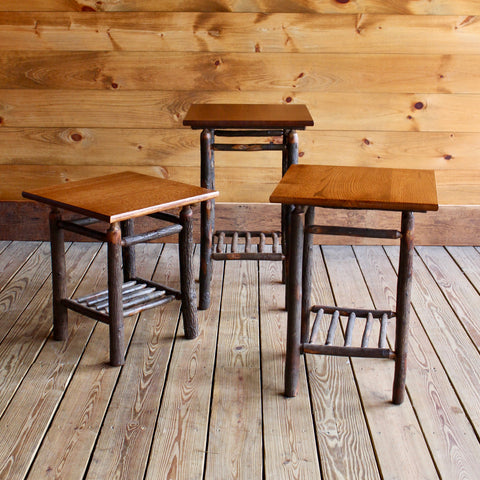Adirondack Rustic Hickory Tabouret Tables