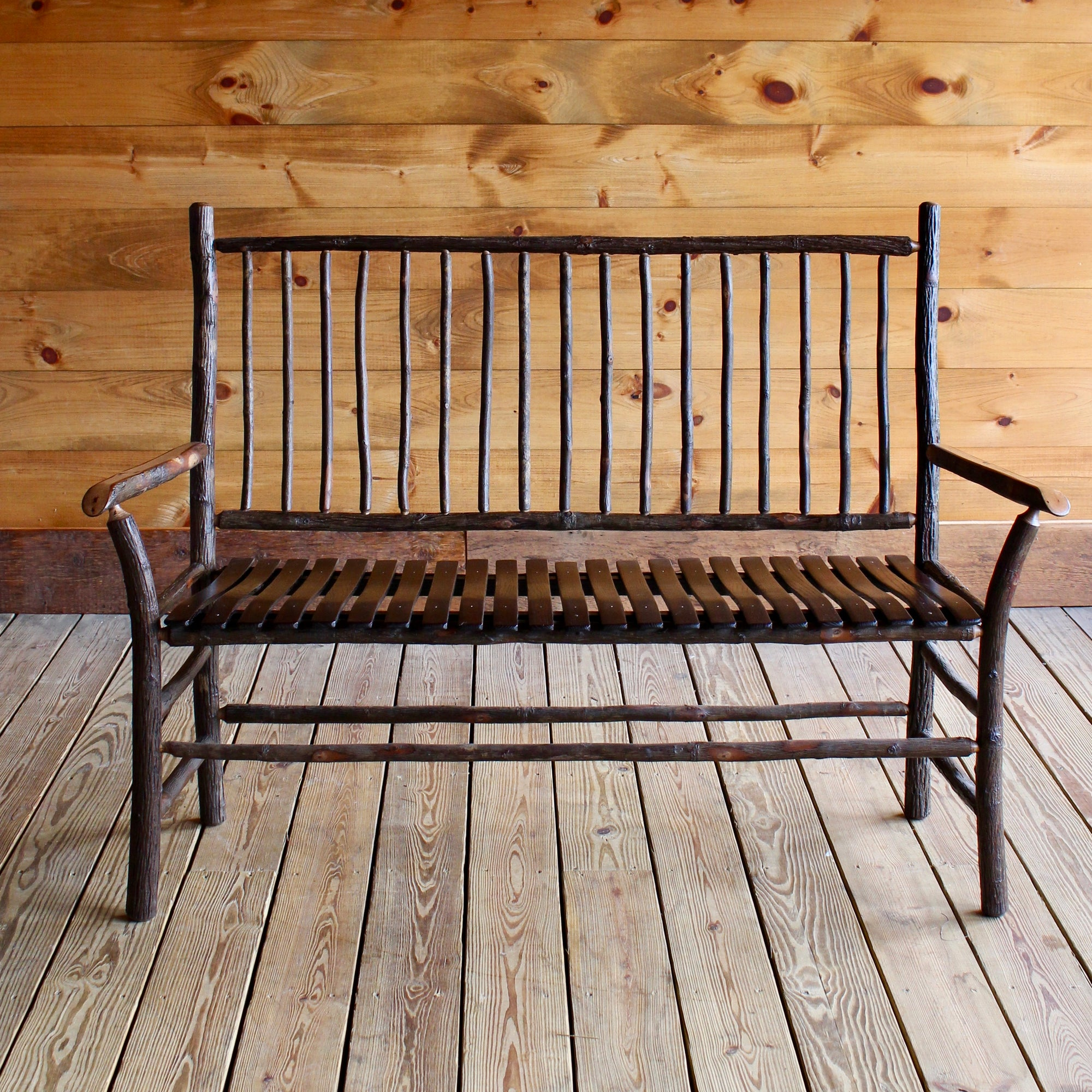 Adirondack Rustic Hickory Wood Bench With Spindle Back ...
