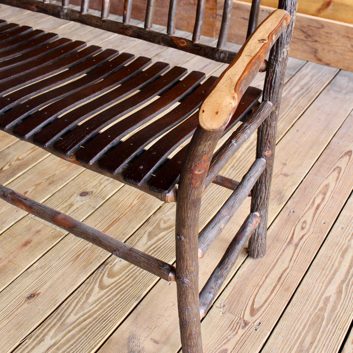 Adirondack Rustic Hickory Wood Bench with Spindle Back