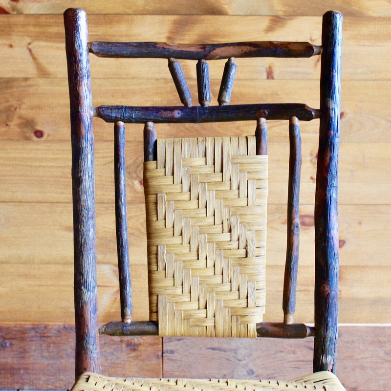 Adirondack rustic hickory and splint dining chair