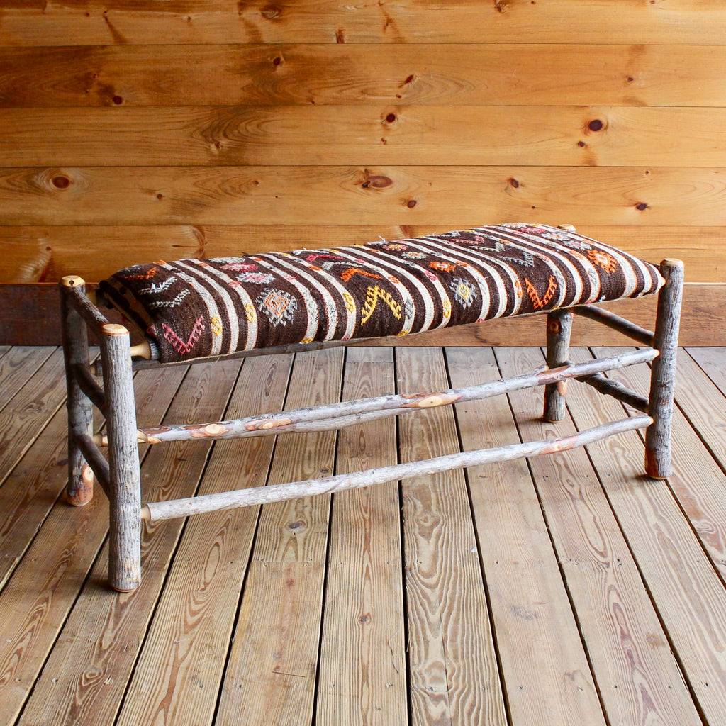 Rustic Hickory Bench with Vintage Kilim Seat