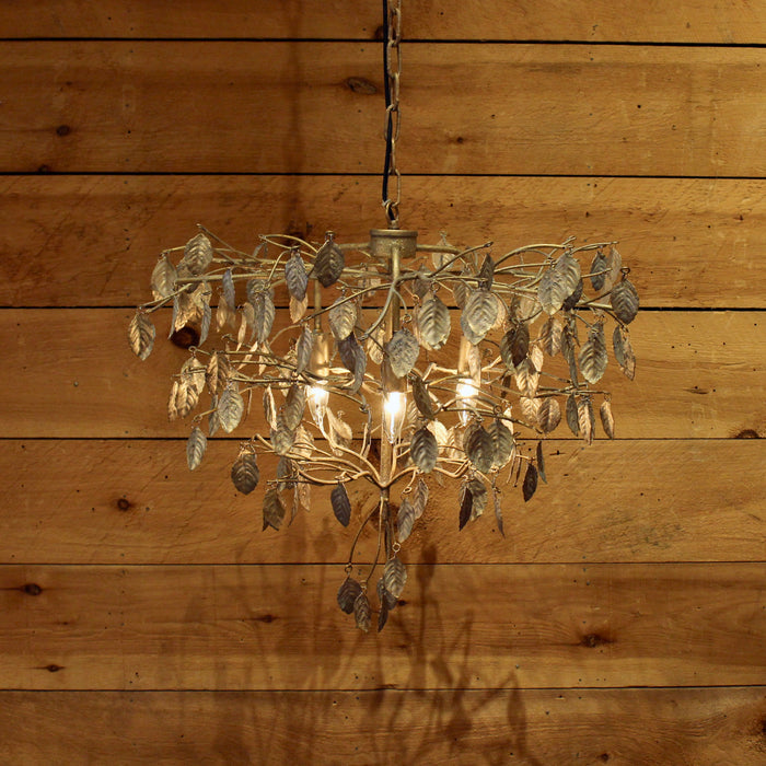 Gold Metal Leaf Chandelier