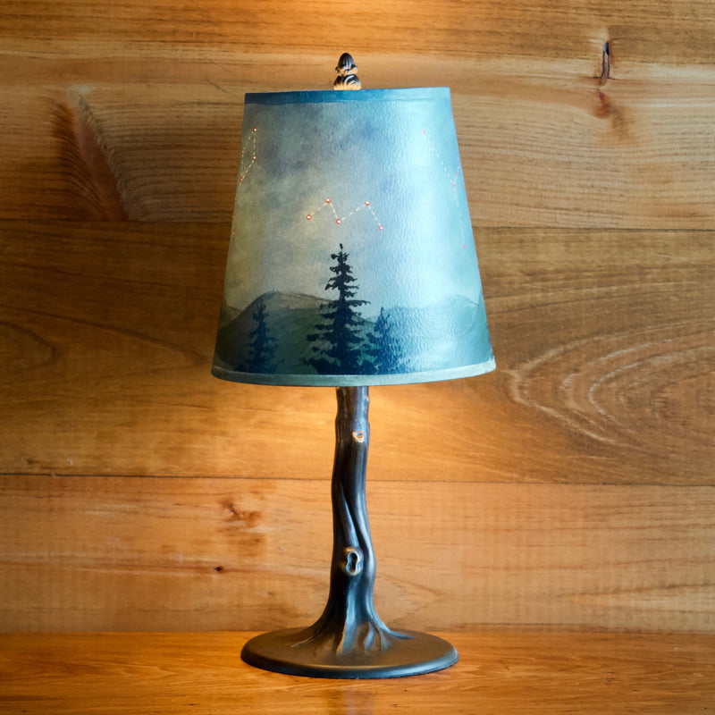 Iron Tree Lamp with Handcrafted Shade of Midnight Sky Scene with Various Constellations