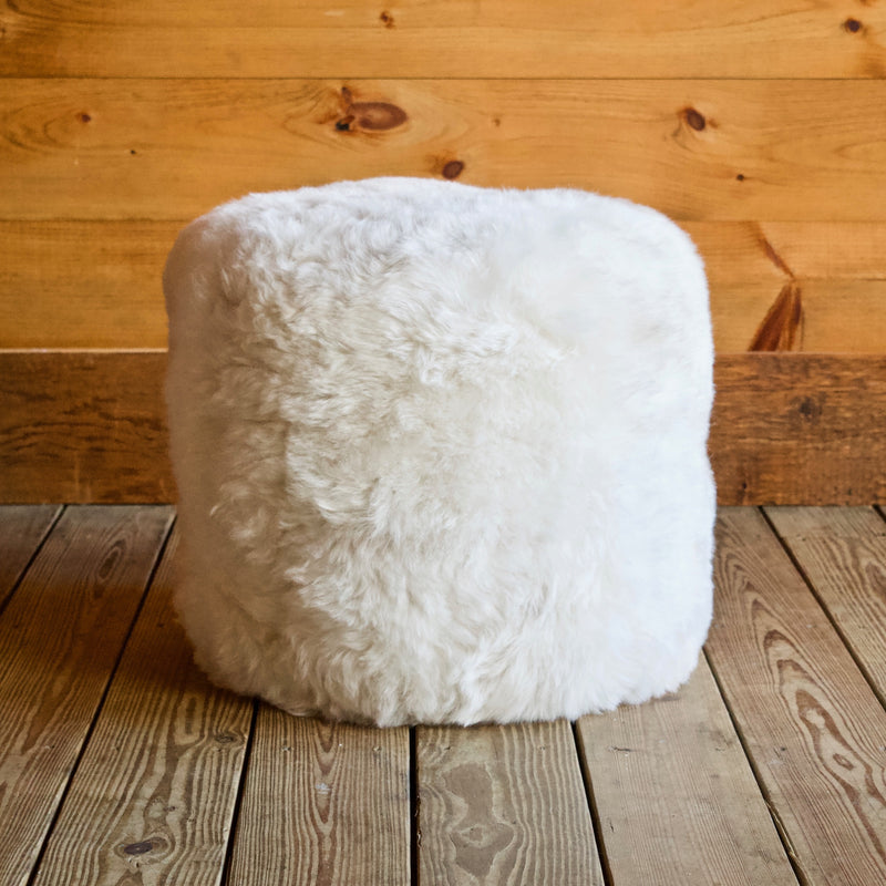 White Sheepskin Shearling Fur Pouf Ottoman