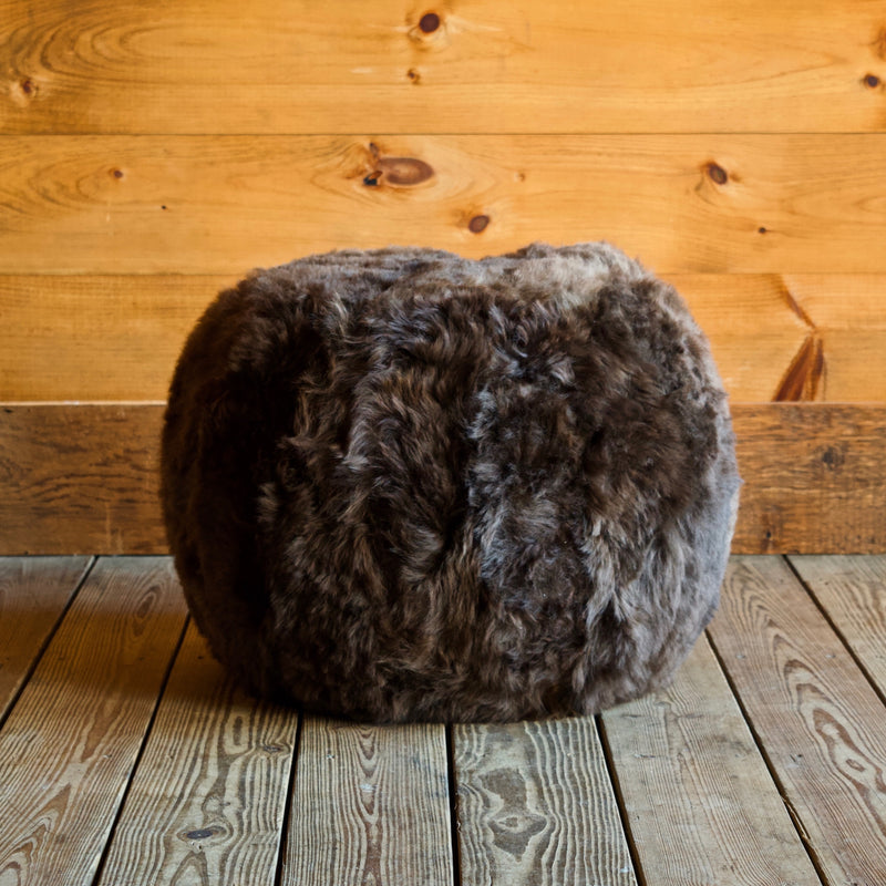 Brown Sheepskin Shearling Fur Pouf Ottoman