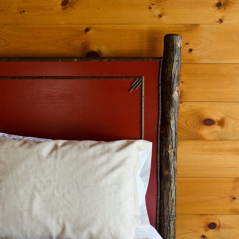 Redfield Painted Panel Bed in Hickory Wood with Twig Details