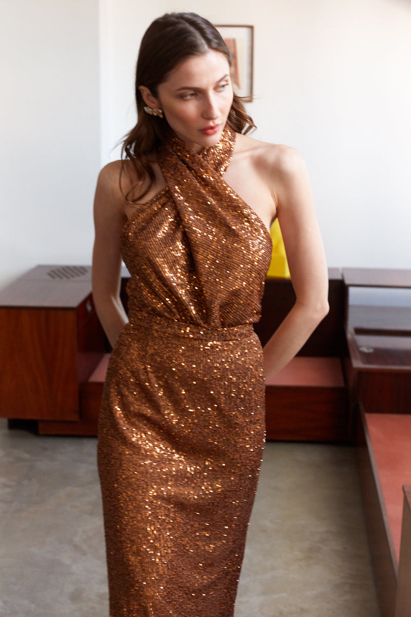 ALTA Bronze Sequin X Neckline Evening Maxi Dress