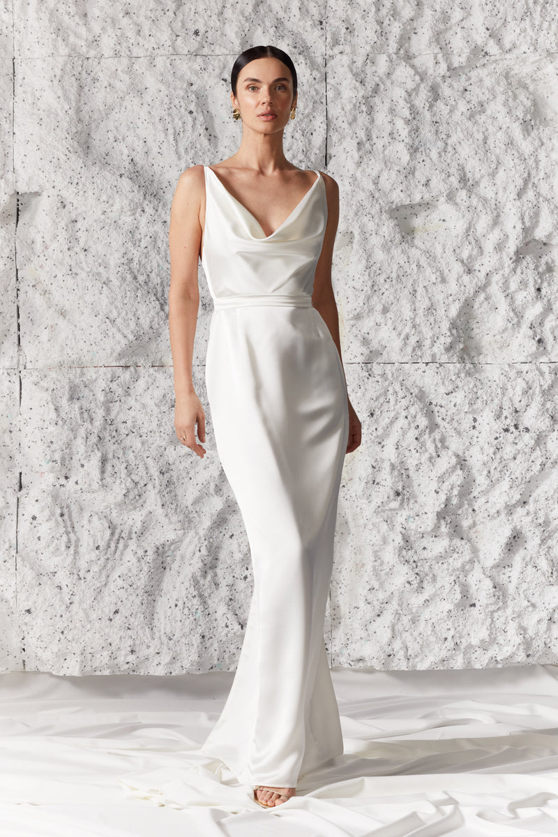 AMILA Soft White Satin Draped Front Open Back Maxi Wedding Bridal Dress