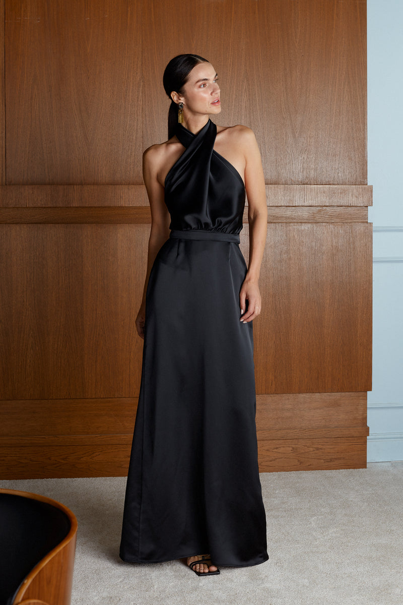 Aliur X Neckline Black Satin Evening Maxi Dress