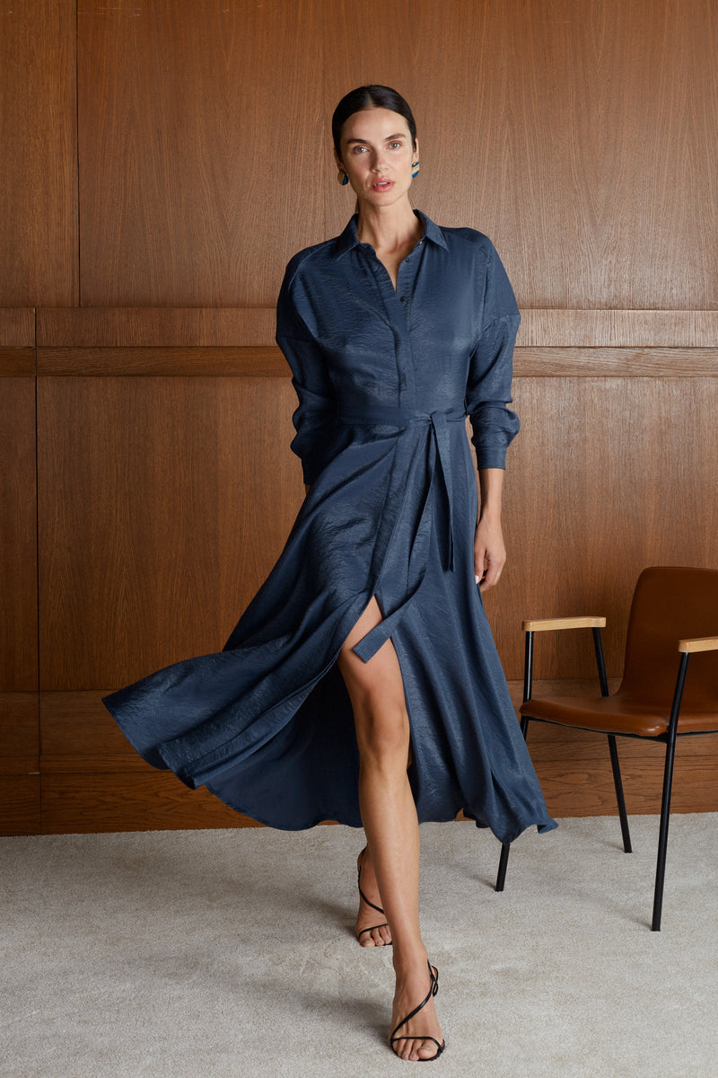 Dores Navy Blue Raglan Sleeves Midi Shirt Dress With Circle Skirt