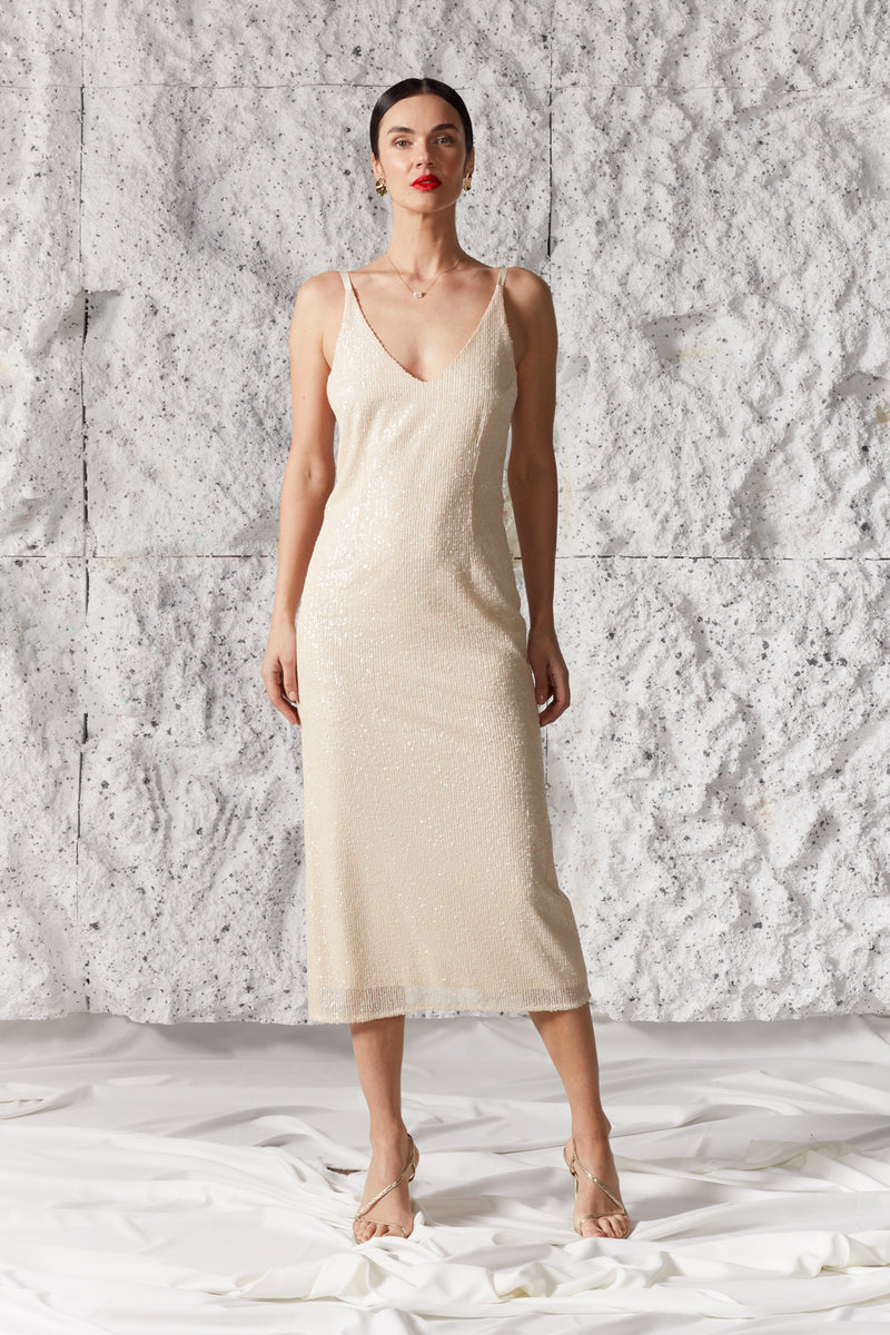 LISA Creamy Sequin Fabric Midi Wedding Bridal Slip Dress