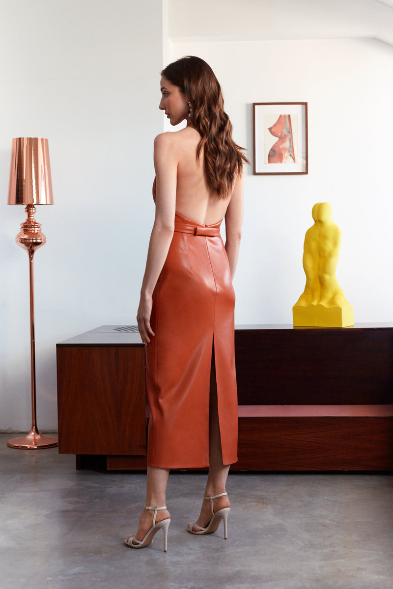 LOREN Brown Soft Vegan Leather Halter Neck Open Back Midi Dress
