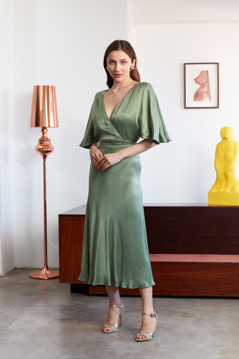SONYA Fern Green Midi Dress With Butterfly Sleeves And Mermaid Skirt