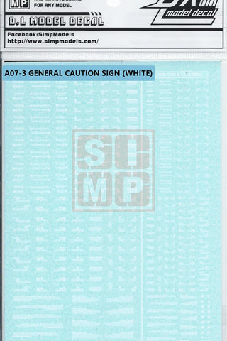SIMP Model Gundam A07-3 General Design Warning Decal 1/144 and 1/100