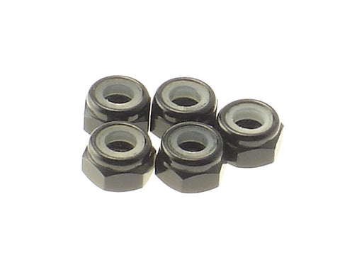 Hiro Seiko Black 4mm Aluminum Nylon Nut 5 Pieces 69229