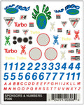 PineCar #P306 Sponsor & Number Dry Transfer Decals Decal