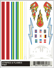 PineCar #P307 Stripe & Flame Dry Transfer Decals