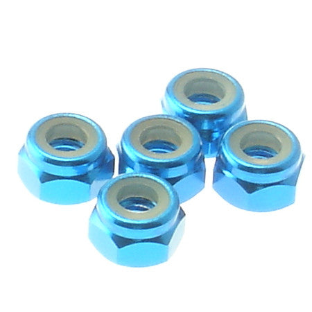 Hiro Seiko Tamiya Blue 4mm Aluminum Nylon Nut 5 Pieces 69225