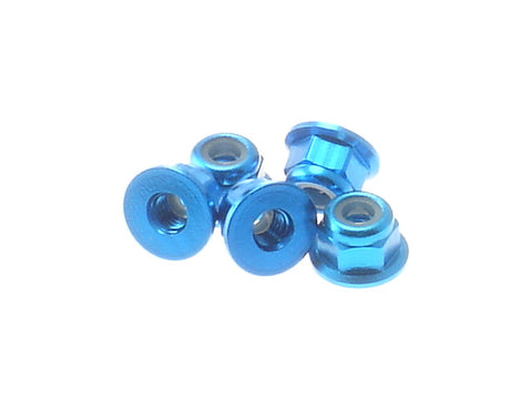 Hiro Seiko Tamiya Blue 3mm Aluminum Flange Nylon Nut 5 Pieces 69237