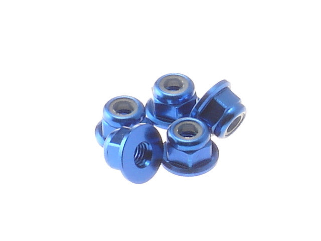Hiro Seiko Yokomo Blue 3mm Aluminum Flange Nylon Nut 5 Pieces 69238