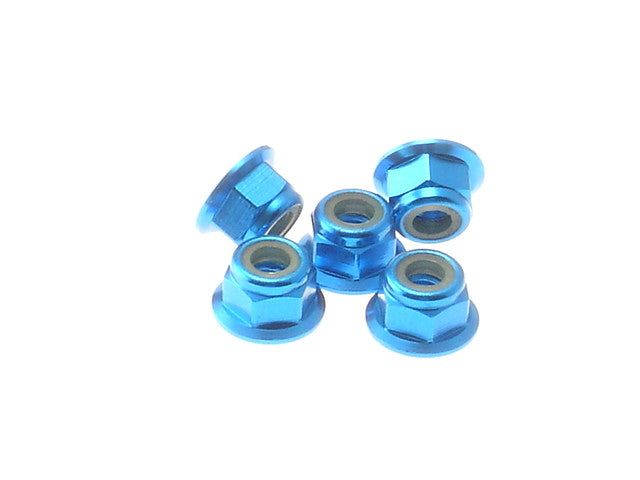 HIRO SEIKO Tamiya Blue 4mm Alloy Flange Nylon Nut 69243