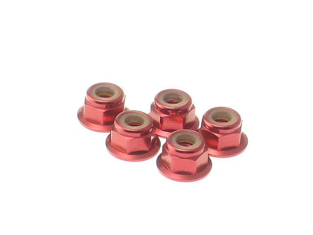 HIRO SEIKO Red 4mm Alloy Flange Nylon Nut 69246