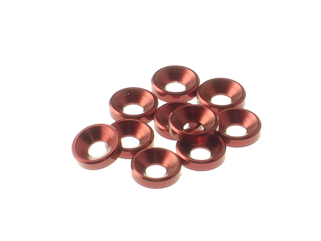 Hiro Seiko Red 3mm Aluminum Countersunk Washer 10 Pieces 69252