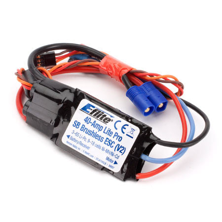E-Flite 40-Amp Lite Pro Switch-Mode BEC Brushless ESC V2 EFLA1040LB