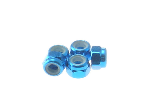 HIRO SEIKO Tamiya Blue 3mm Alloy Nylon Lock Nut 69219