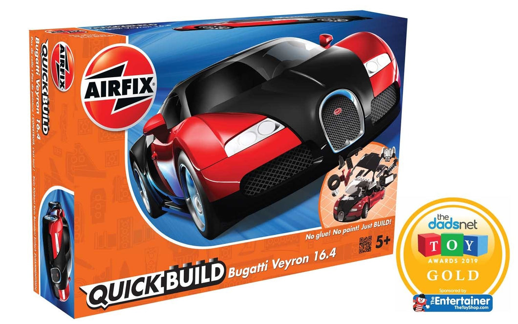 Airfix QUICK BUILD Bugatti 16.4 Veyron Black Red J6020