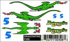 PineCar #P308 Dragonfire Dry Transfer Decals