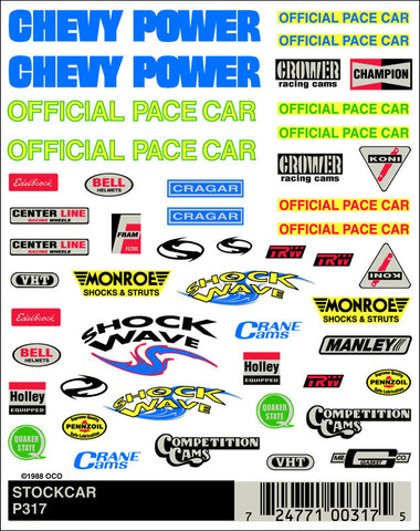 PineCar #P317 NASCAR Stockcar Dry Transfer Decals