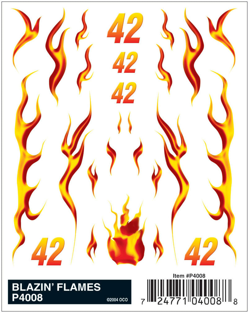 PineCar #P4008 Blazin' Flames Dry Transfer Decals