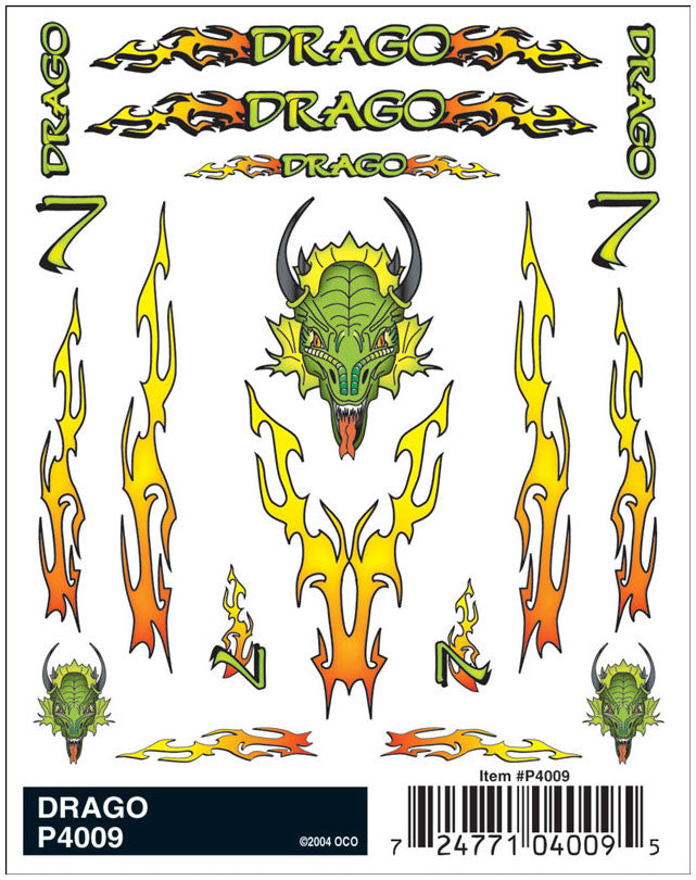 PineCar #P4009 Drago Dragon Dry Transfer Decals