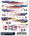 PineCar #P4012 Freedom Runner Dry Transfer Decals American Flags