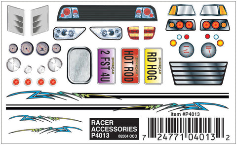 PineCar #P4013 Racer Accessories Dry Transfer Decals