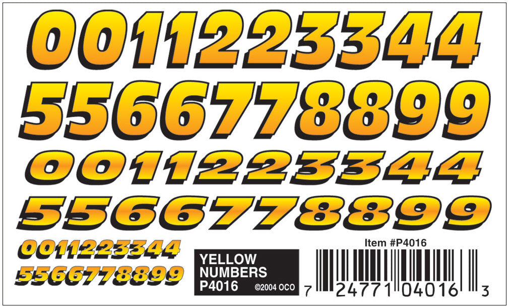 PineCar #P4016 Yelllow Number Dry Transfer Decals