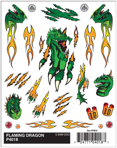 PineCar #P4018 Flaming Dragon Dry Transfer Decals
