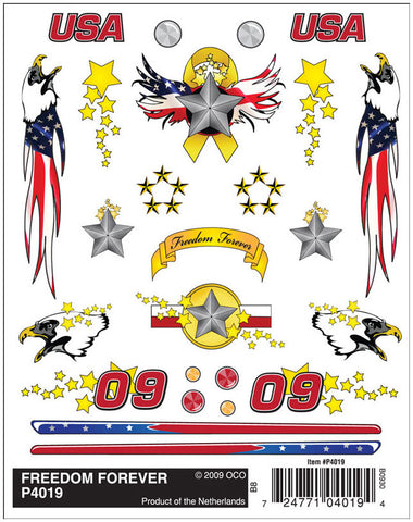 PineCar #P4019 Freedom Forever Dry Transfer Decals