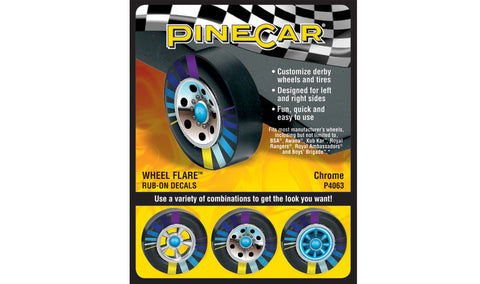 PineCar #P4063 Chrome Wheel Flare Dry Transfer Decals
