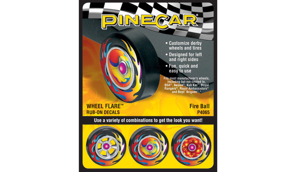 PineCar #P4065 Fire Ball Wheel Flare Dry Transfer Decals