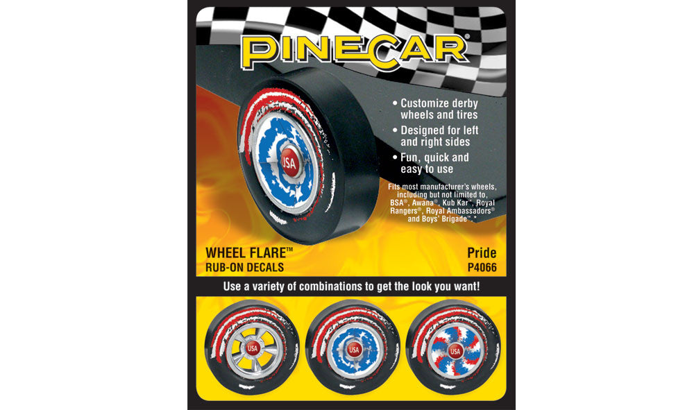 PineCar #P4066 Pride Wheel Flare Dry Transfer Decals