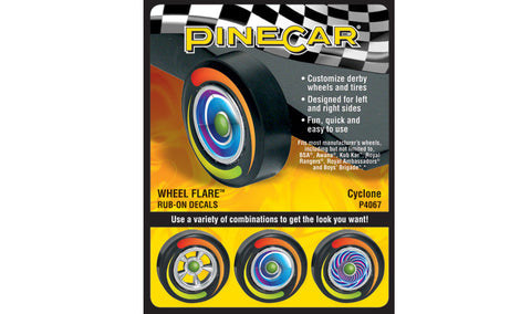 PineCar #P4067 Cyclone Wheel Flare Dry Transfer Decals