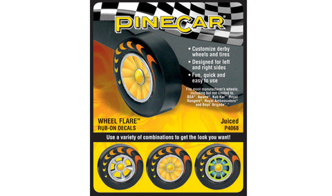PineCar #P4068 Juiced Wheel Flare Dry Transfer Decals