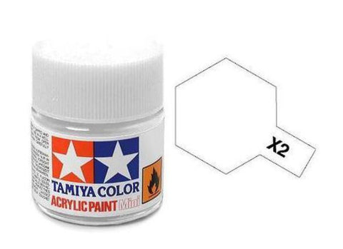 Tamiya X-2 Gloss White Acrylic Paint Mini 10ml (1/3oz) TAM81502