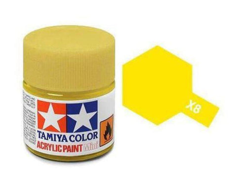 Tamiya X-8 Gloss Lemon Yellow Acrylic Paint Mini 10ml (1/3oz) TAM81508
