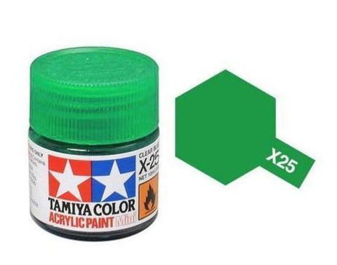 Tamiya X-25 Gloss Clear Green Acrylic Paint Mini 10ml (1/3oz) TAM81525