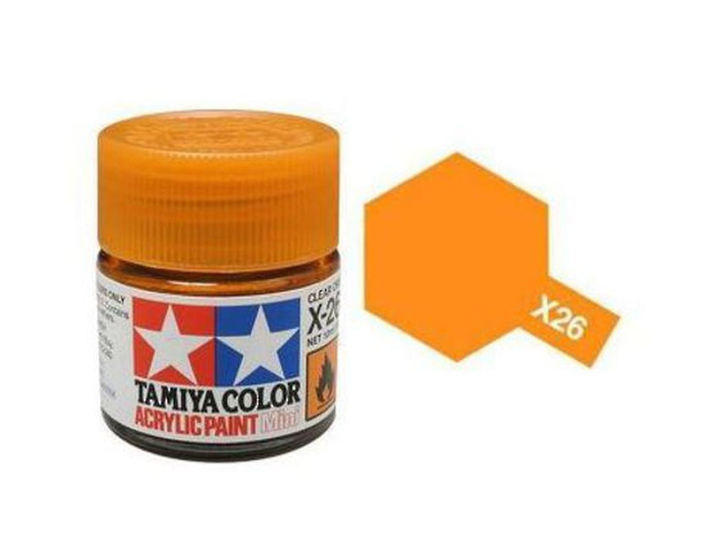 Tamiya X-26 Gloss Clear Orange Acrylic Paint Mini 10ml (1/3oz) TAM81526